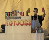 The hot dog cart looks awesome at parties!